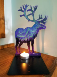 Metal Caribou Painted with Northern Lights