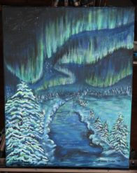 "Shimmering Northern Lights over a Snowy River, Original Painting on 14"" x 18"" Canvas, Ready to Ship"