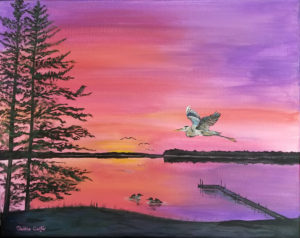 "Lake Sunrise on Canvas, Original Painting on 16"" x 20"" Canvas, Ready to Ship"